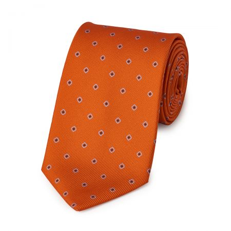 Square with Inner Dot 50oz Silk Tie in Orange