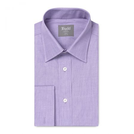 Tailored Fit Plain End on End Double Cuff Shirt in Lilac