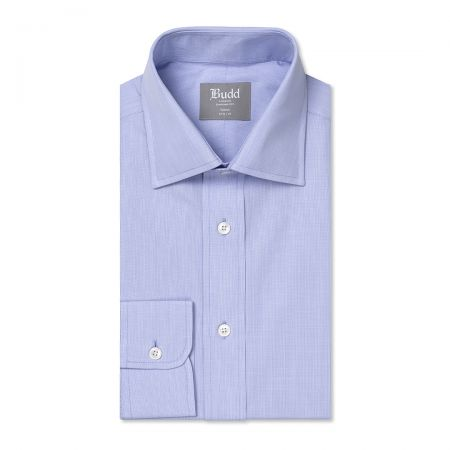 Tailored Fit Micro Check Cotton Button Cuff Shirt in Blue