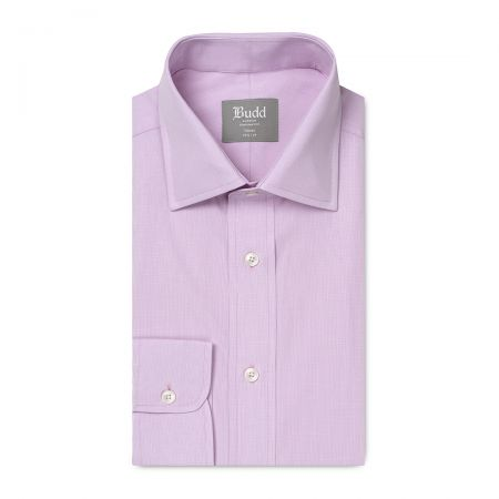 Tailored Fit Micro Check Cotton Button Cuff Shirt in Lilac