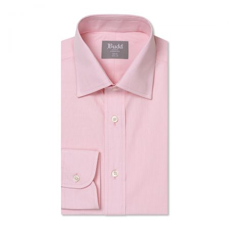Tailored Fit Micro Check Cotton Button Cuff Shirt in Pink