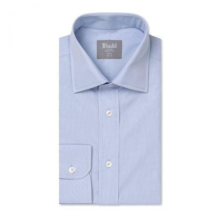 Tailored Fit Micro Check Cotton Button Cuff Shirt in Sky Blue