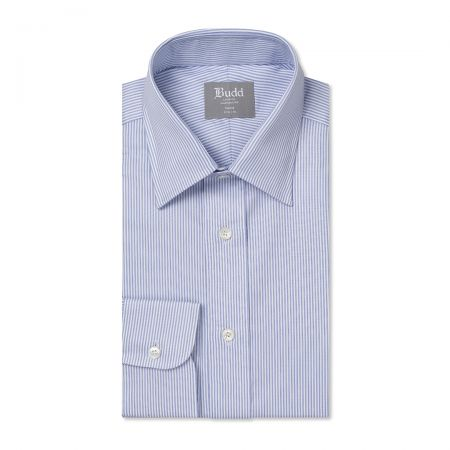 Tailored Fit Large Bengal Stripe Poplin Button Cuff Shirt in Sky Blue