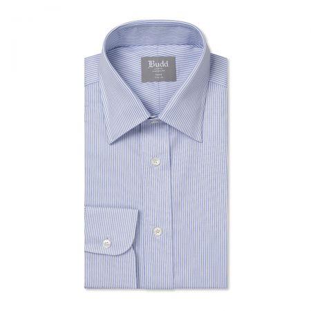Tailored Fit Large Bengal Stripe Poplin Button Cuff Shirt in Sky Blue