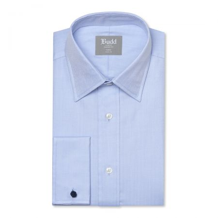 Tailored Fit Herringbone Twill Double Cuff Shirt in Sky Blue
