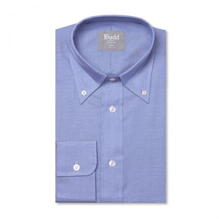 Tailored Fit Button Down Plain Oxford Shirt in Blue