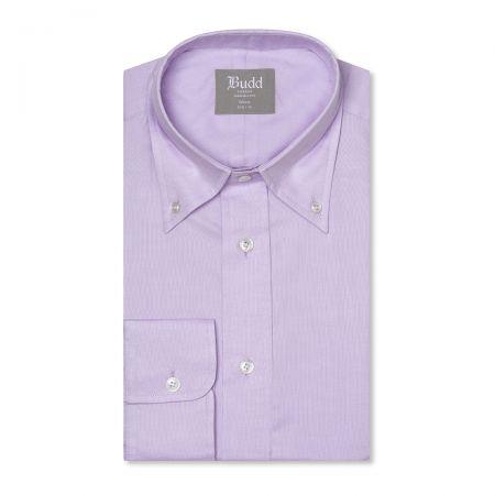 Tailored Fit Plain Oxford Button Cuff Shirt in Lilac