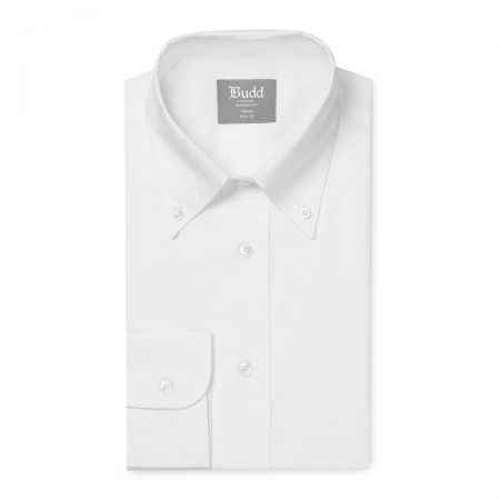 Tailored Fit Button Down Plain Oxford Shirt in White