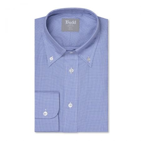 Tailored Fit Micro Houndstooth Oxford Button Cuff Shirt in Blue