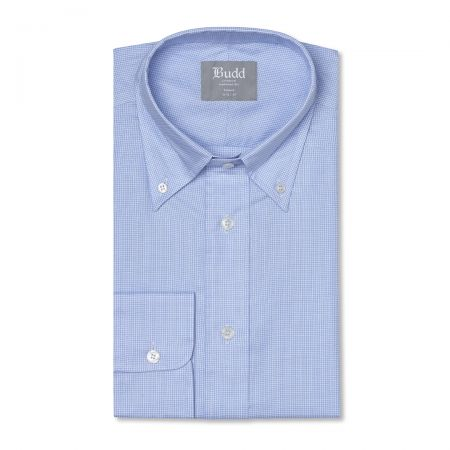 Tailored Fit Micro Houndstooth Oxford Button Cuff Shirt in Sky Blue