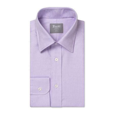 Tailored Fit Fine Arrow Head Easy Care Cotton Button Cuff Shirt in Lilac