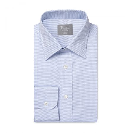 Tailored Fit Fine Arrow Head Easy Care Cotton Button Cuff Shirt in Sky Blue