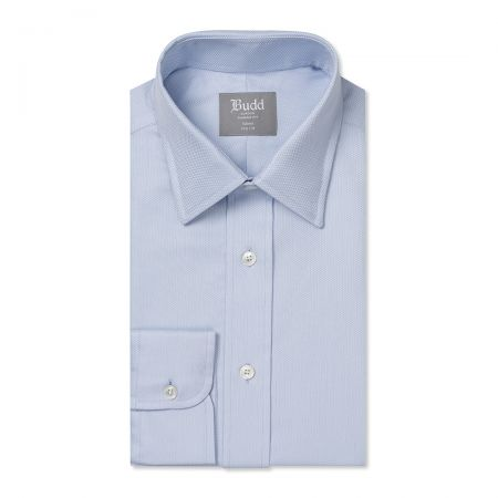 Tailored Fit Geometric Dashes Easy Care Cotton Button Cuff Shirt in Sky Blue