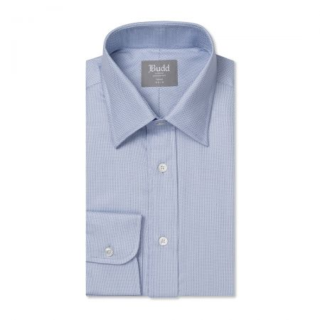 Tailored Fit Fine Herringbone Easy Care Cotton Button Cuff Shirt in Sky Blue