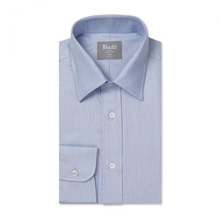 Tailored Fit Fine Herringbone Easy Care Cotton Button Cuff Shirt in Sky Blue
