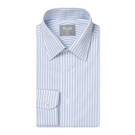 Tailored Fit Bengal Stripe Easy Care Twill Button Cuff Shirt in Sky Blue