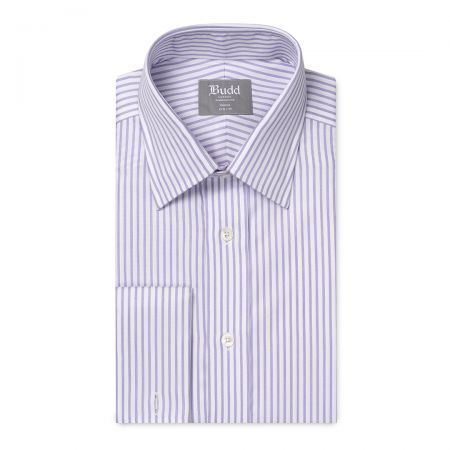 Tailored Fit Wide Bengal Stripe Easy Care Twill Button Cuff Shirt in Lilac