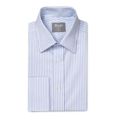 Tailored Fit Wide Bengal Stripe Easy Care Twill Button Cuff Shirt in Sky Blue