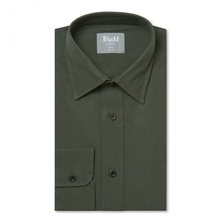 Tailored Fit Plain Peached Twill Button Cuff Shirt in Khaki