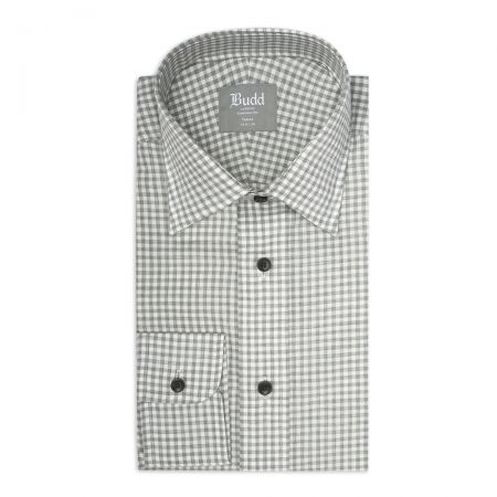 Tailored Fit Small Gingham Brushed Cotton Button Cuff Shirt in Grey