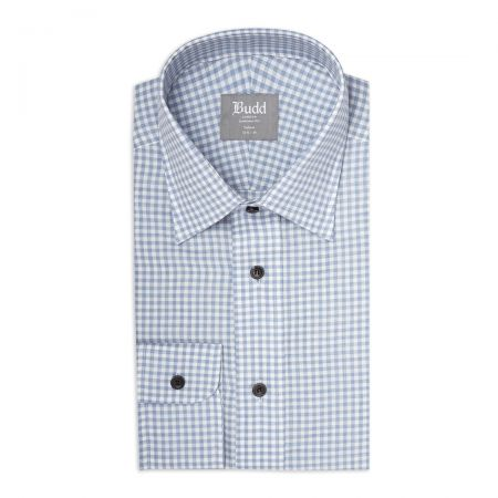 Tailored Fit Small Gingham Brushed Cotton Button Cuff Shirt in Sky Blue