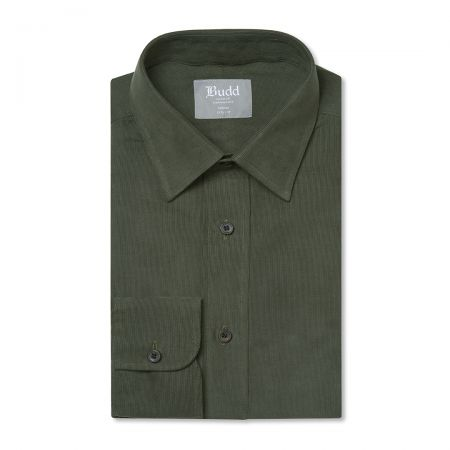 Tailored Fit Plain Fine Corduroy Button Cuff Shirt in Green