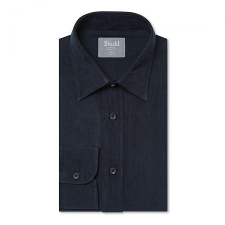Tailored Fit Plain Fine Corduroy Button Cuff Shirt in Navy