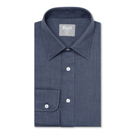 Tailored Fit Micro Check Brushed Cotton Button Cuff Shirt in Blue