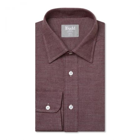 Tailored Fit Micro Check Brushed Cotton Button Cuff Shirt in Red