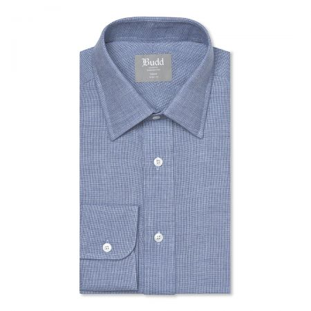 Tailored Fit Micro Check Brushed Cotton Button Cuff Shirt in Sky Blue