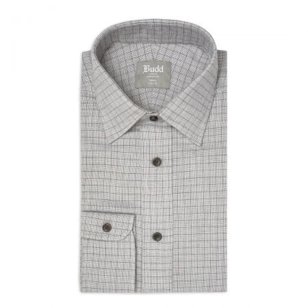 Tailored Fit Micro Houndstooth Brushed Cotton Button Cuff Shirt in Brown and Grey