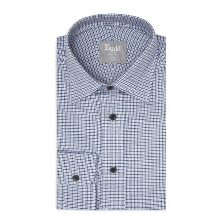 Tailored Fit Micro Houndstooth Brushed Cotton Button Cuff Shirt in Sky Blue and Navy