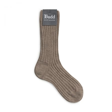 Cashmere Ribbed Ladies Short Socks in Natural