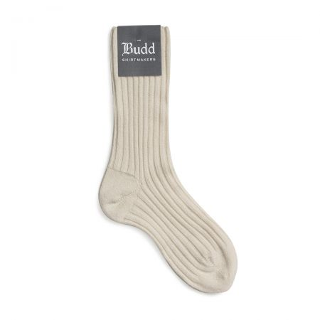 Cashmere Ribbed Ladies Short Socks in White