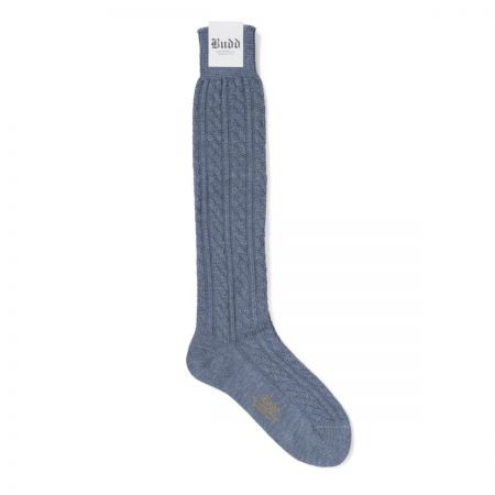 Cable Knit Wool Long Socks in Sky Blue
