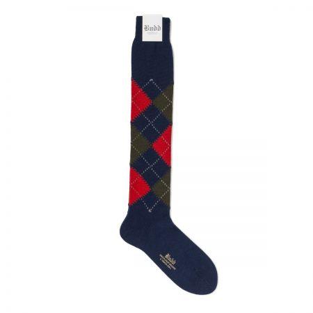 Classic Argyle Cotton Long Socks in Blue