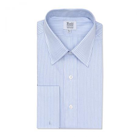 Classic Fit Trio Stripe Superpoplin Double Cuff Shirt in Sky Blue
