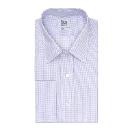 Classic Fit Grid Check Superpoplin Double Cuff Shirt in Lilac