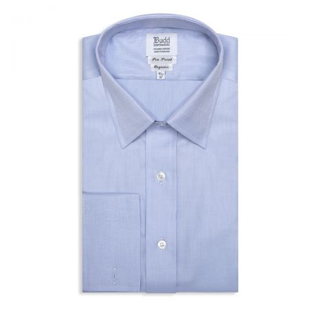 Classic Fit Swiss Organic Pinpoint Double Cuff Shirt in Blue