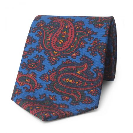 Paisley Madder Silk Tie in Blue