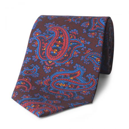 Paisley Madder Silk Tie in Burgundy