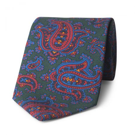 Paisley Madder Silk Tie in Green