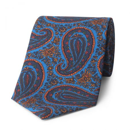Ornate Paisley Madder Silk Tie in Blue