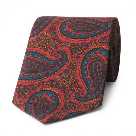 Ornate Paisley Madder Silk Tie in Red