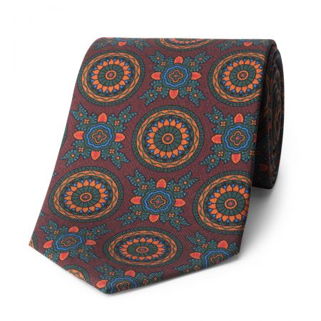Baroque 40oz Madder Silk Tie in Burgundy