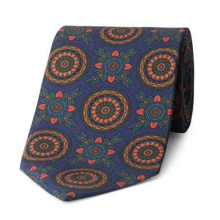 Baroque 40oz Madder Silk Tie in Navy and Green