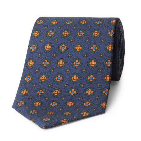 Coffer Madder Silk Tie in Navy and Green