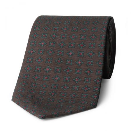 Damask Madder Silk Tie in Brown