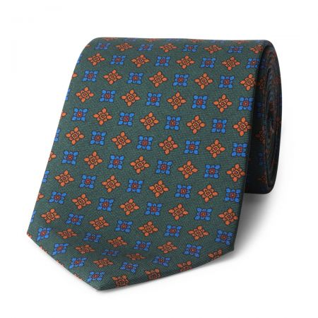 Damask Madder Silk Tie in Green and Blue