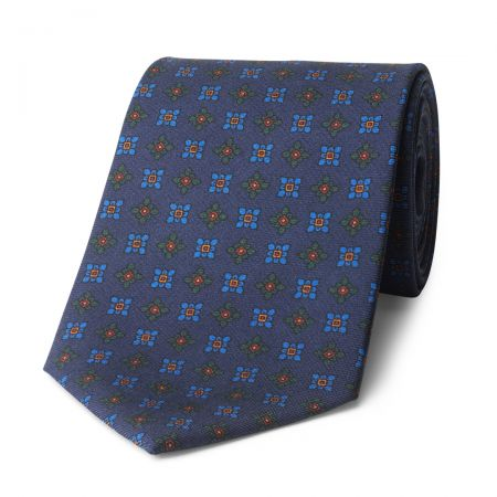 Damask Madder Silk Tie in Navy and Blue